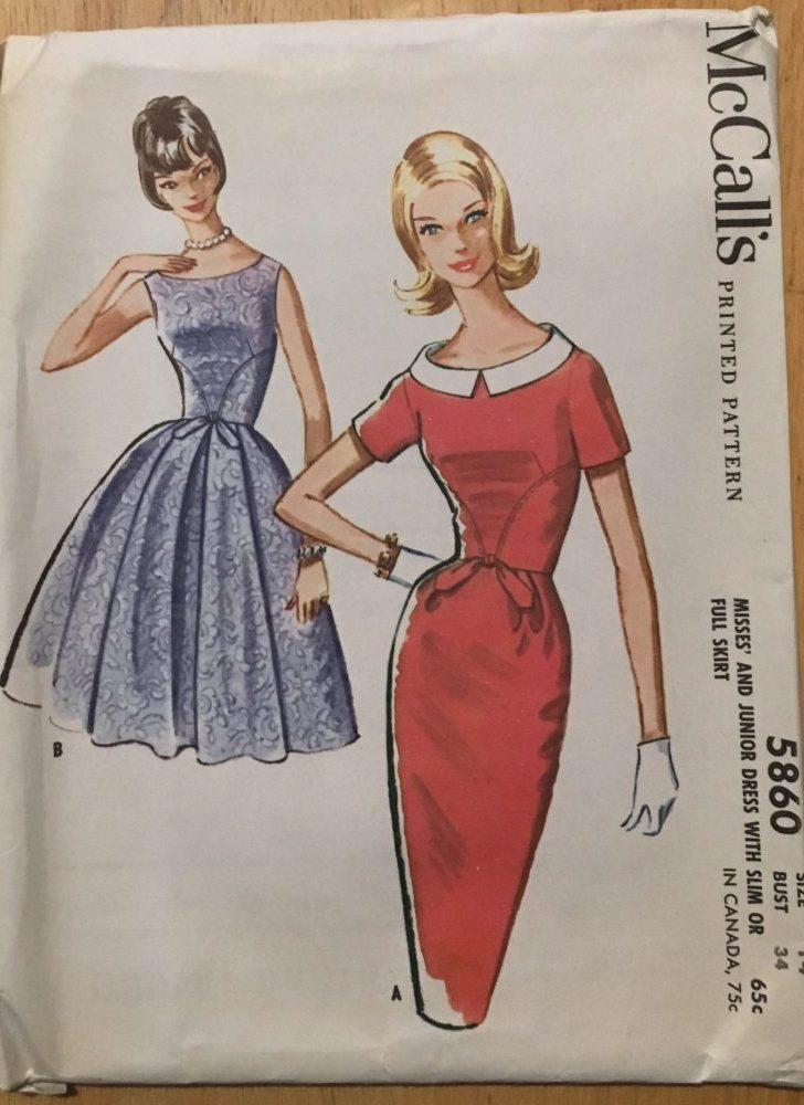 uncut 1961 secretary + party/cocktail dress pattern McCalls 5860 bust 34