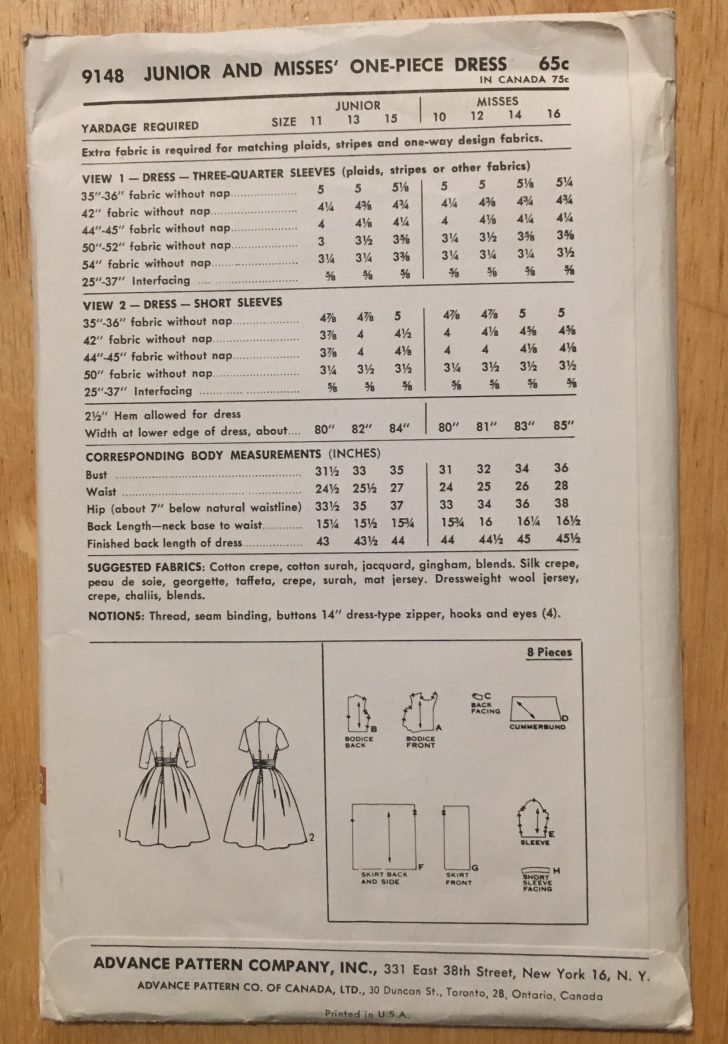 uncut 1960s cummerbund dress pattern Advance 9148 bust 34″