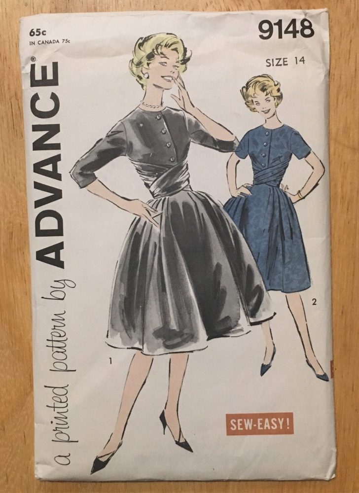 "uncut unused 1950s early 1960s full-skirt cummerbund dress vintage printed pattern * Advance 9148 * vintage size 14 bust 34"""