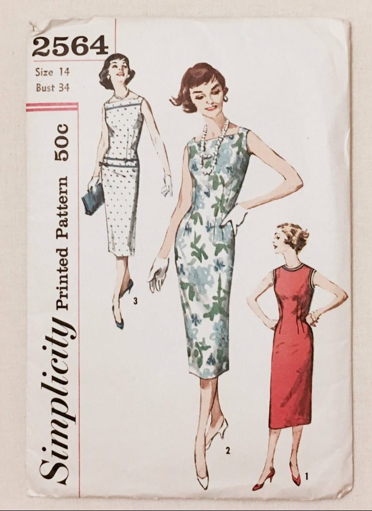 unused 1950s dress pattern Simplicity 2564 bust 34″