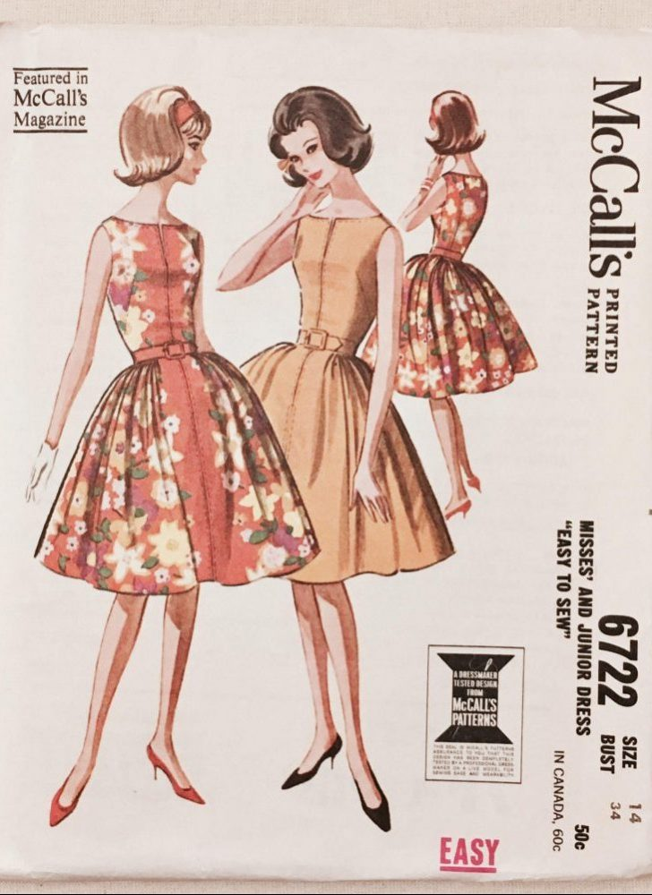 unused early 1960s dress pattern McCalls 6722 bust 34″