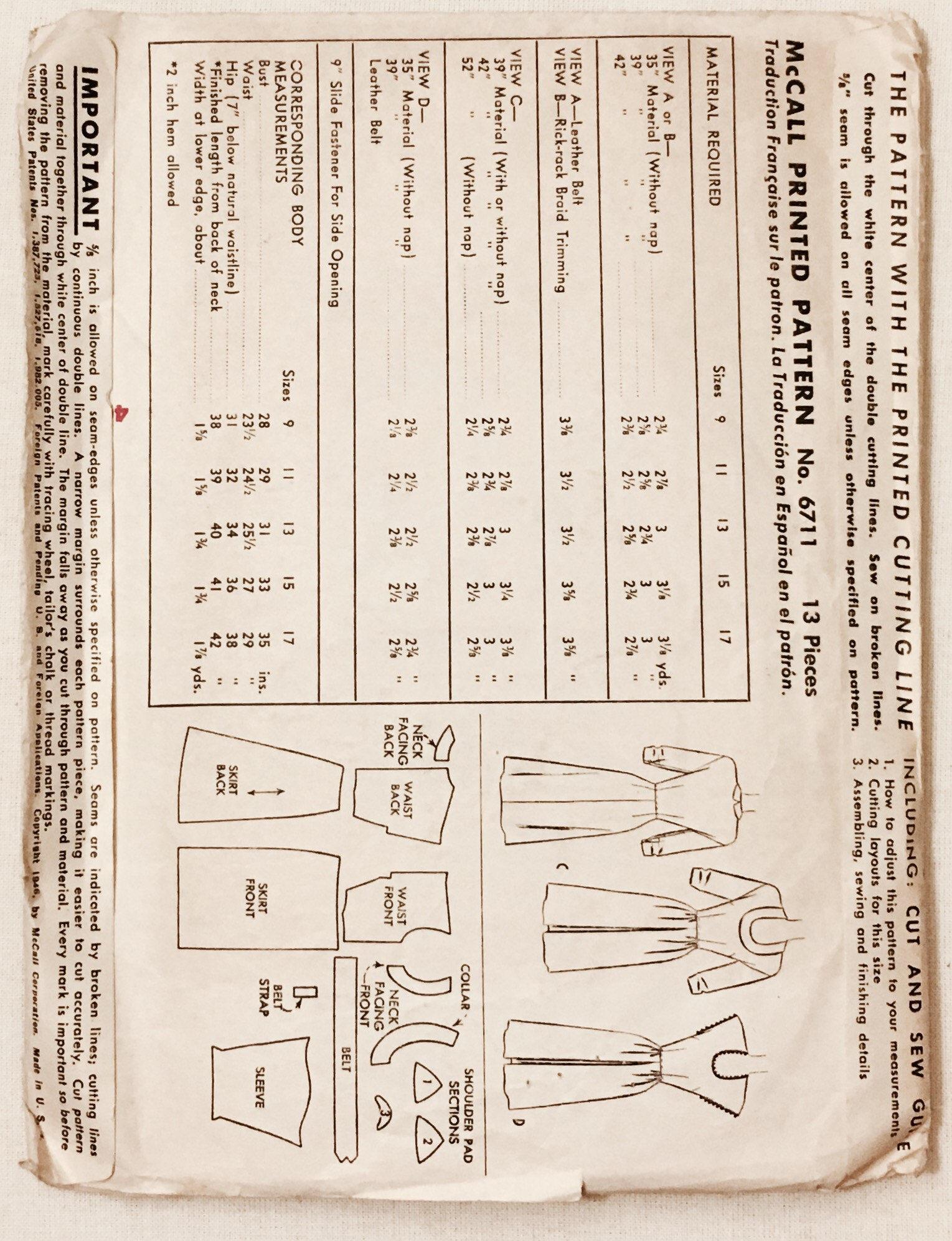 "1940s vintage junior dress or jumper printed pattern * McCall 6711 * complete * vintage size 15 bust 33"" waist 27"""