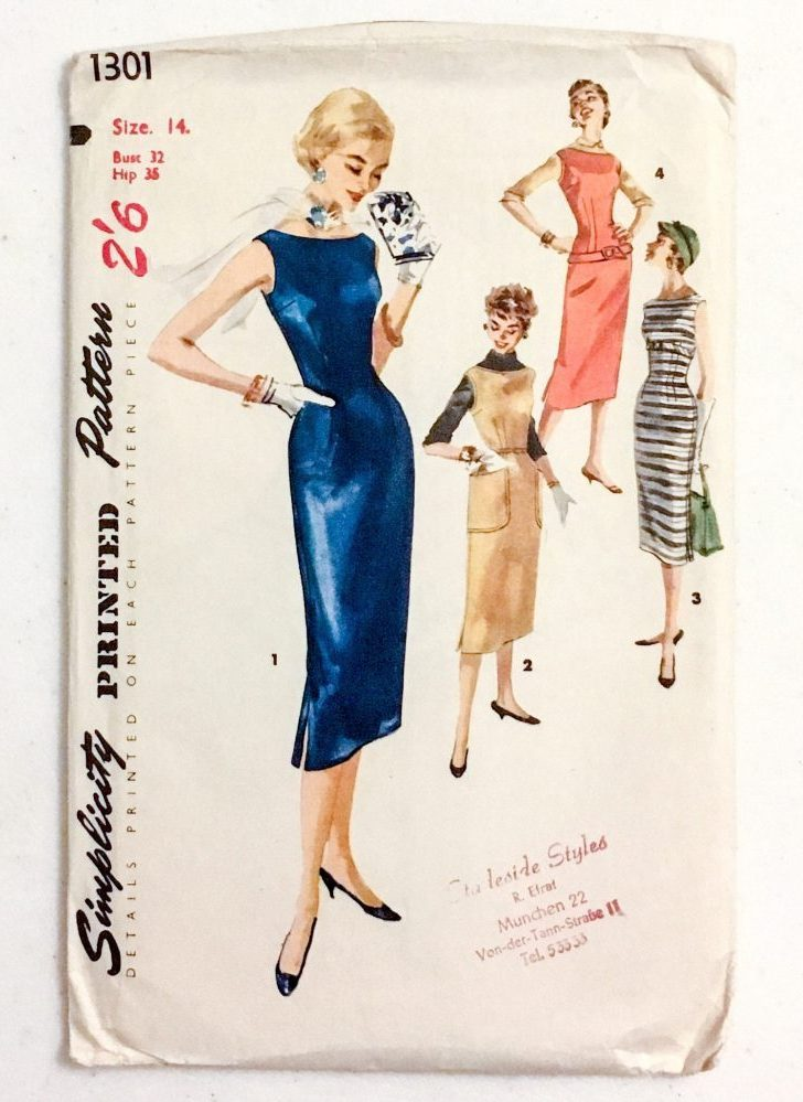 "1950s printed wiggle dress + jumper pattern * Simplicity 1301 * vintage size 14 bust 32"" waist 26"" hip 35"""