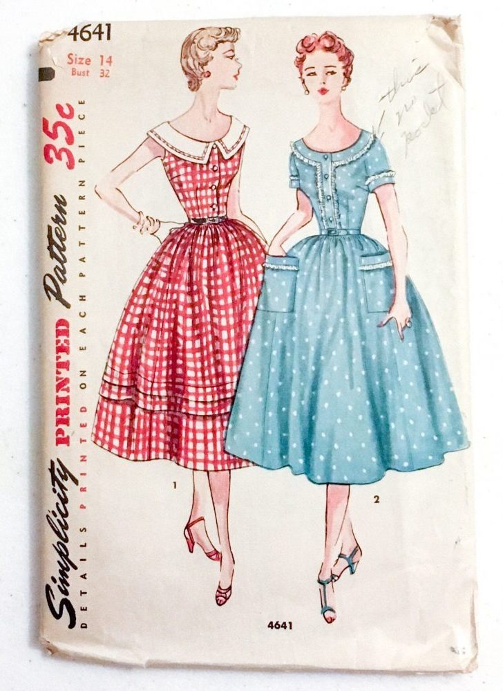 1950s 1954 dress pattern Simplicity 4641 bust 32″
