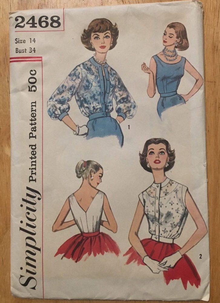 uncut 1950s blouse + overblouse pattern Simplicity 2468 bust 34″