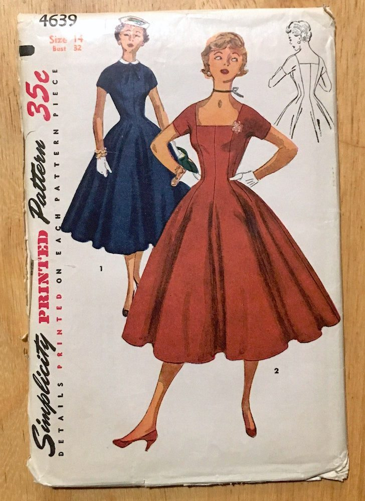uncut 1950s princess dress pattern Simplicity 4639 bust 32″