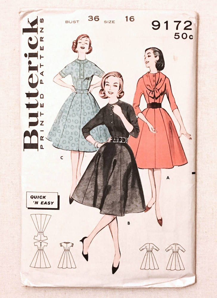 unused 1950s dress pattern Butterick 9172 bust 36″