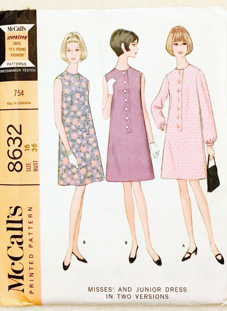 unused 1960s shift dress pattern McCall's 8632 bust 36″