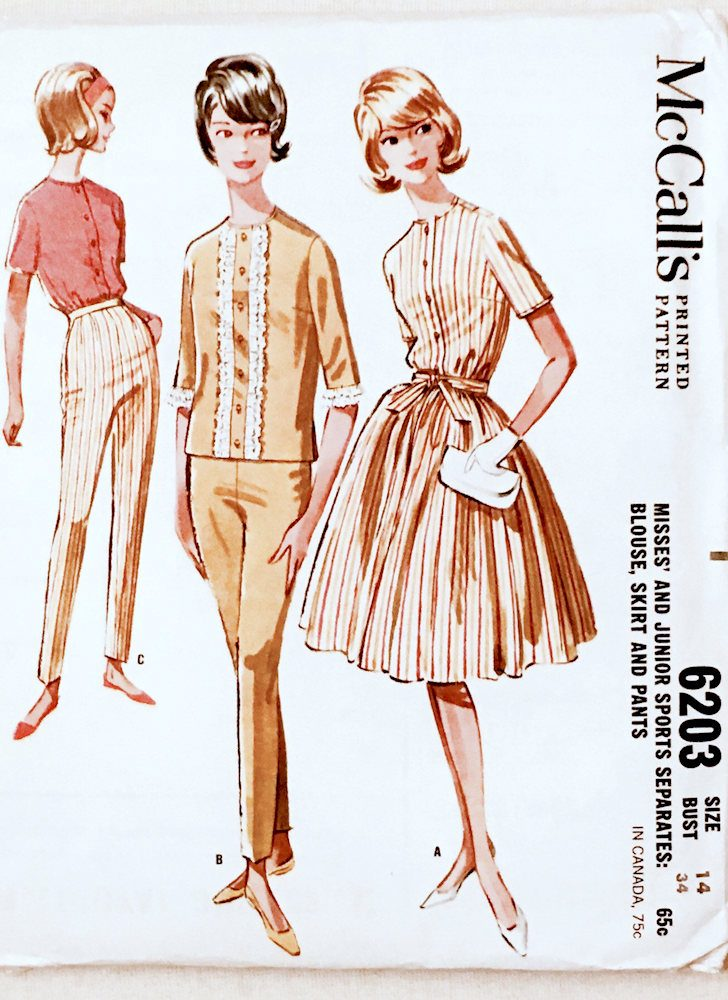 unused 1961 pattern separates McCall's 6203 bust 34