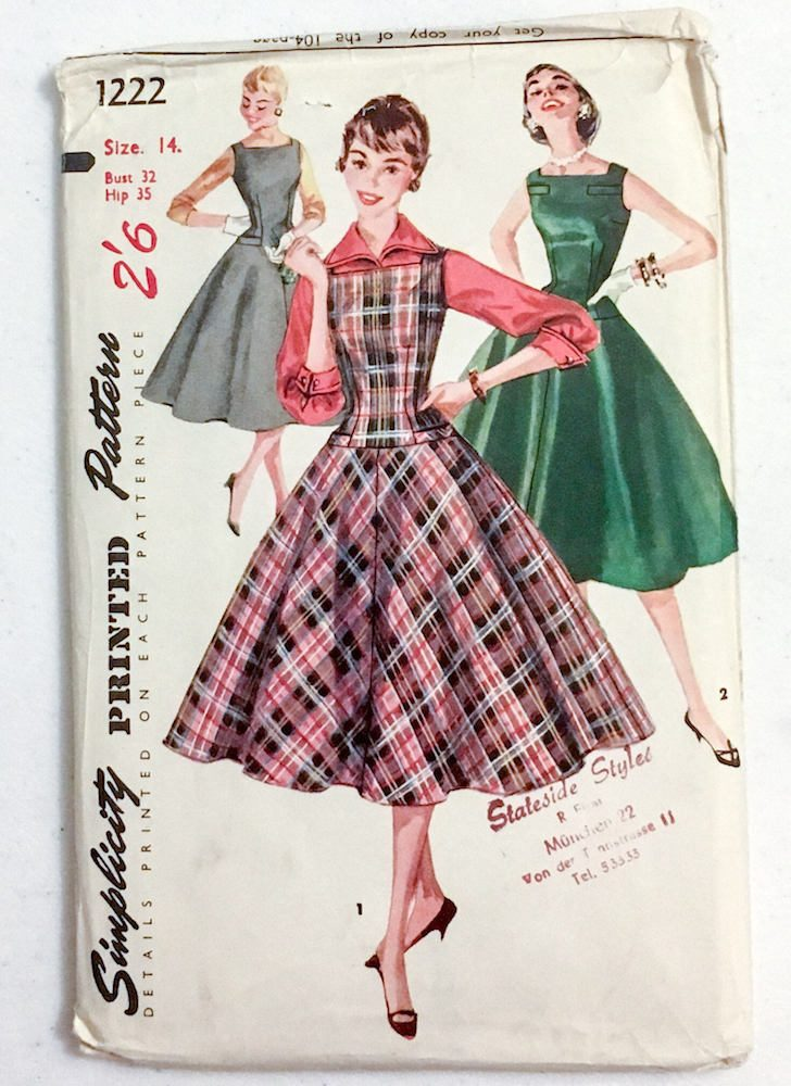 1950s dress, jumper + blouse pattern Simplicity 1222 bust 32″