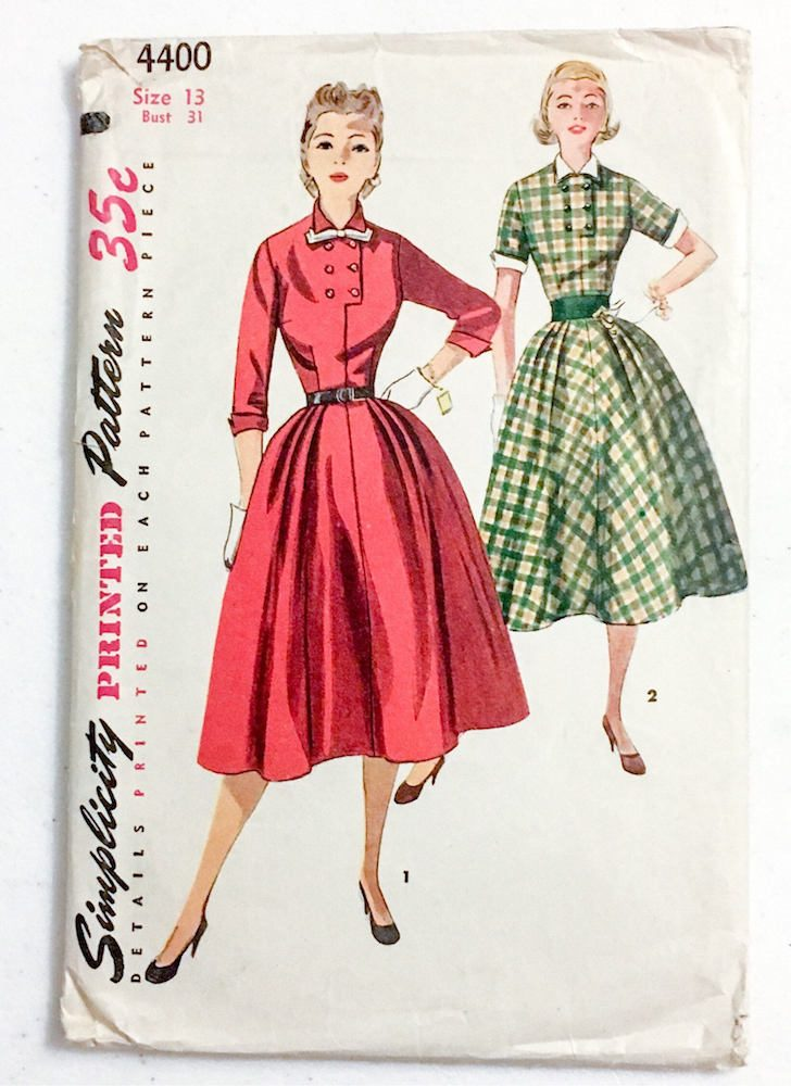 1950s dress pattern Simplicity 4400 bust 31″