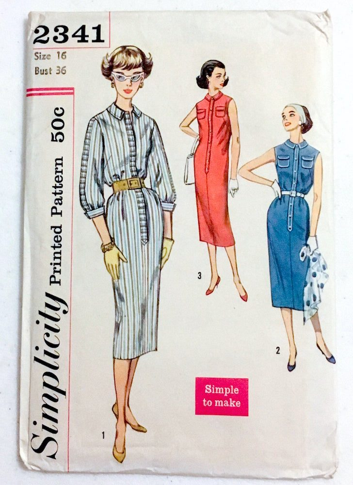 unused dress pattern Simplicity 2341 bust 36″