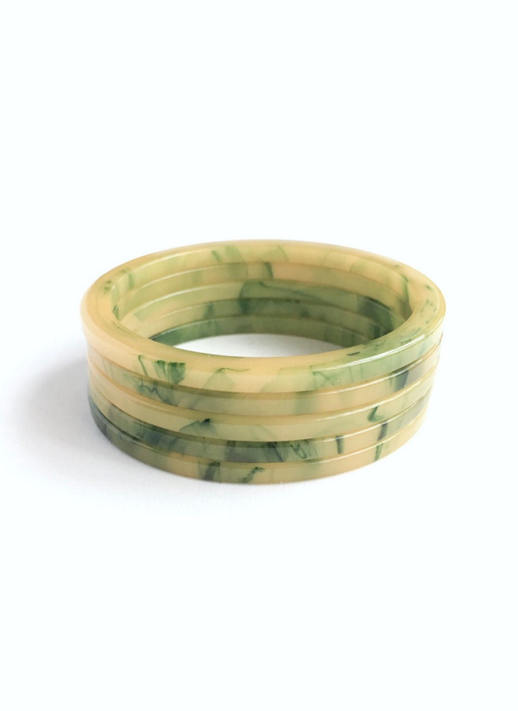 COMING SOON! 1930s yellow green marbled Bakelite bangles