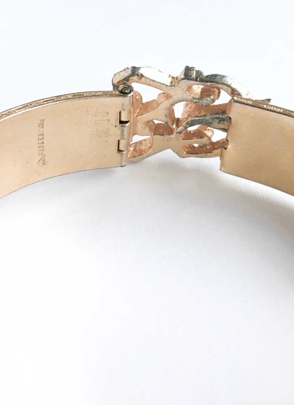 COMING SOON! vintage Damascene rhinestone cuff bracelet