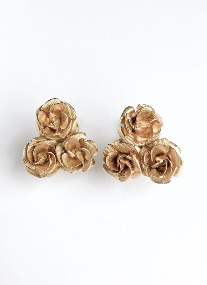 cute vintage Coro gold rose earrings