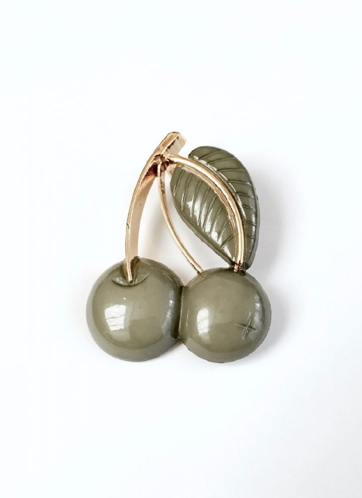 vintage green and gold cherry pin