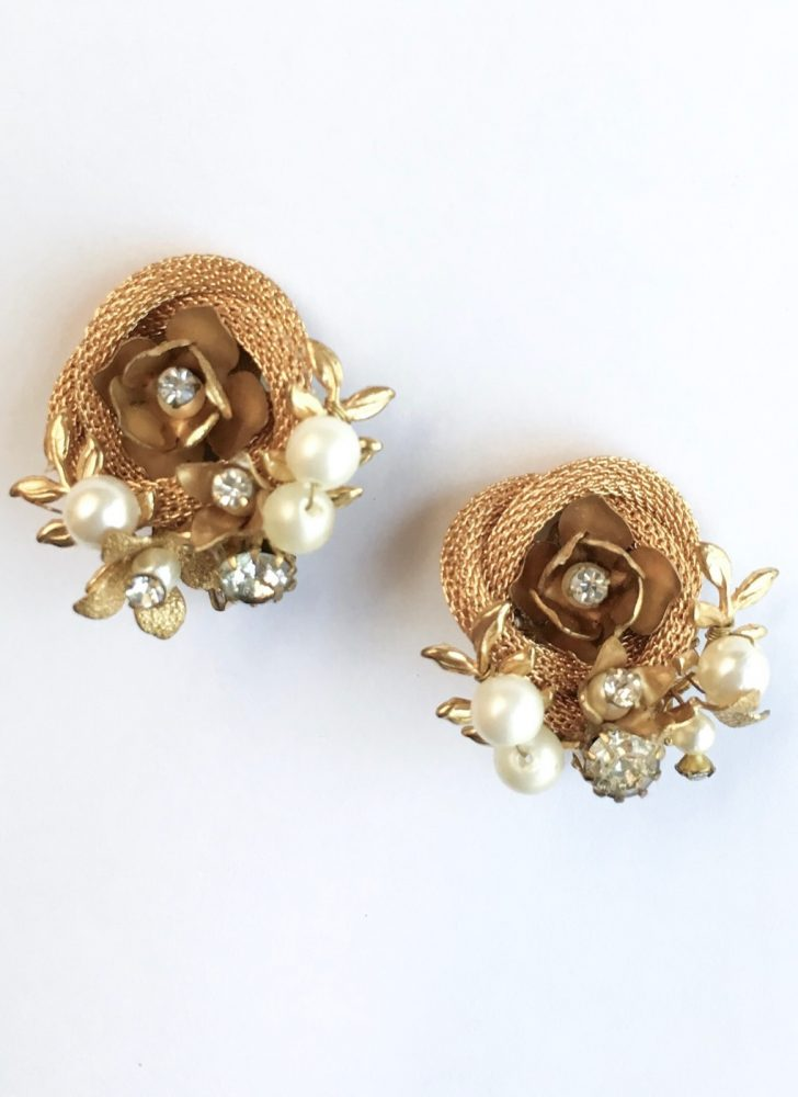 1950s 60s pearl + rhinestone rose earrings