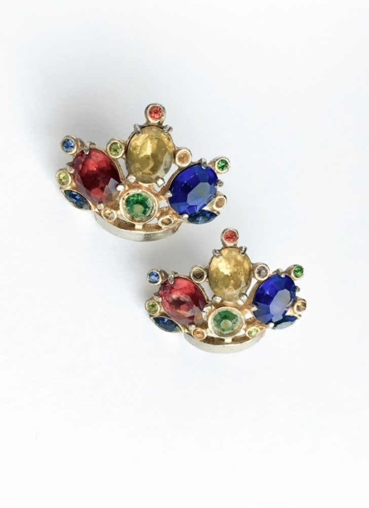 vintage colorful rhinestone crown earrings