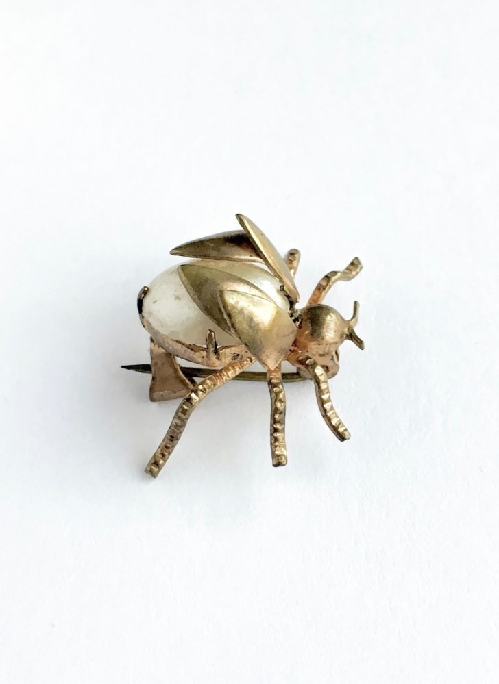 vintage brass + pearl bug pin