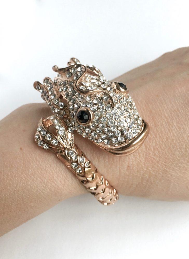 vintage rhinestone fish cuff bracelet