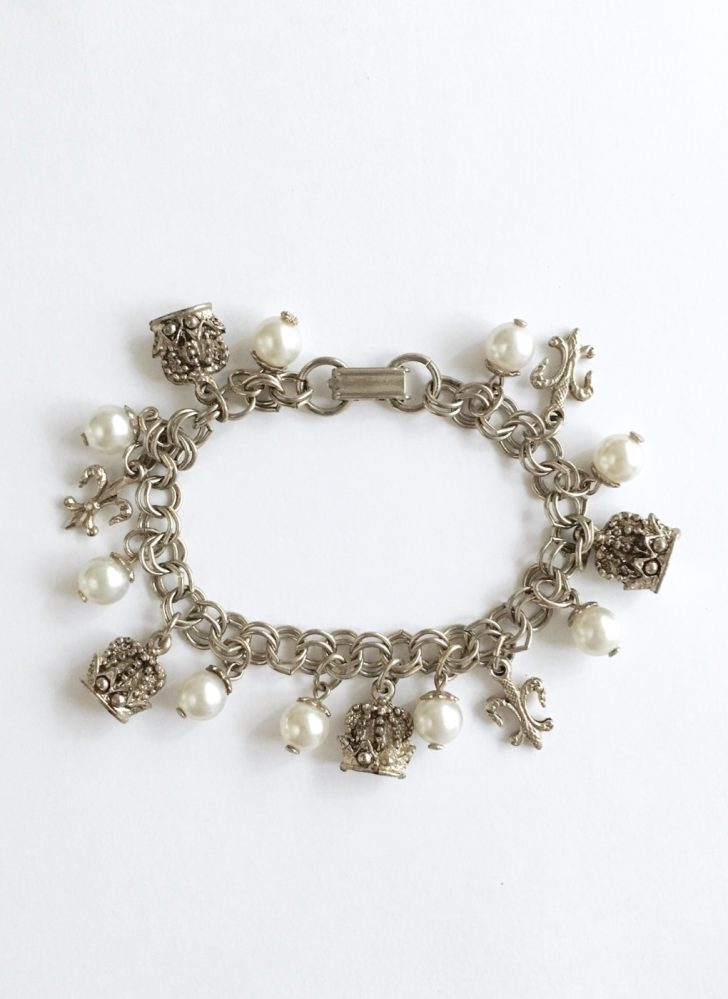 vintage fleur-de-lis and crown charm bracelet