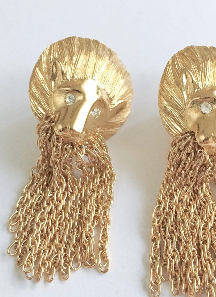 1980s gold lion head earrings