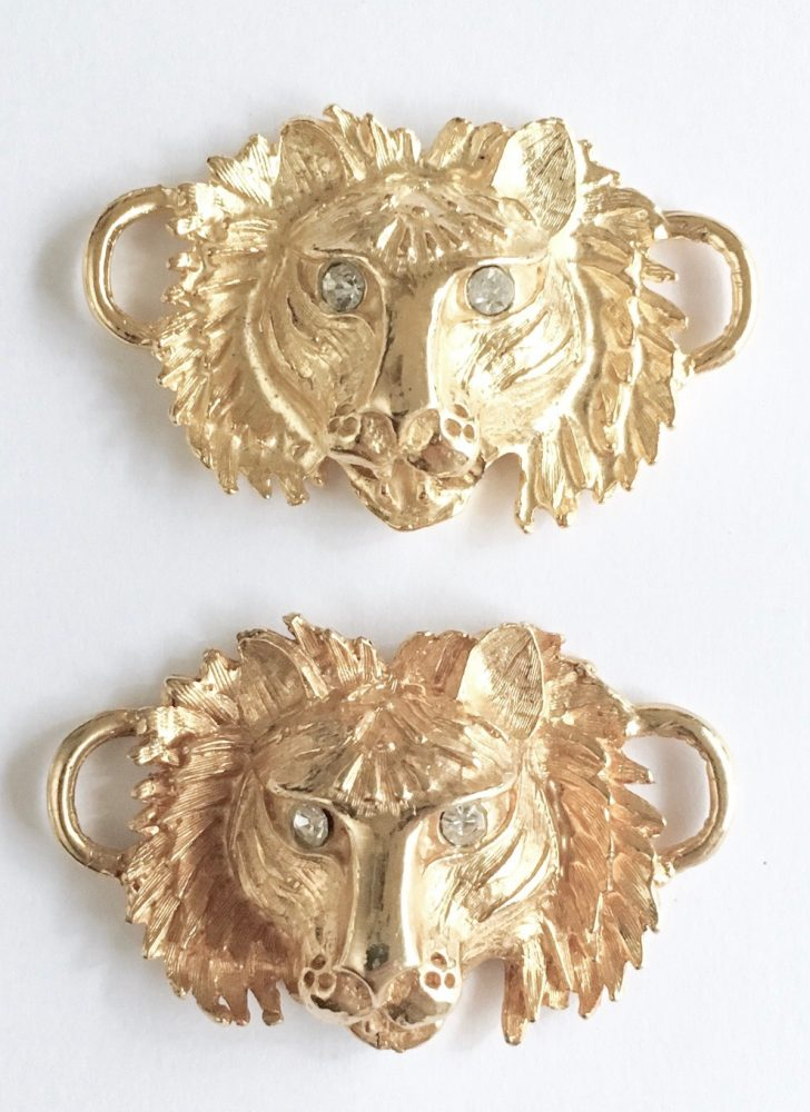 vintage gold lion heads with rhinestone eyes
