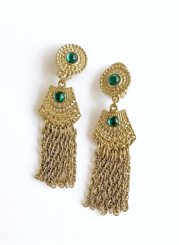 vintage Egyptian revival gold earrings with green cabochons