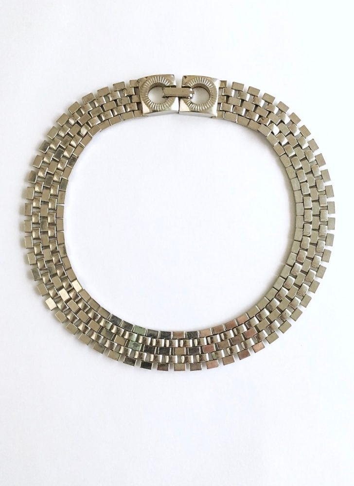 vintage silver link collar necklace
