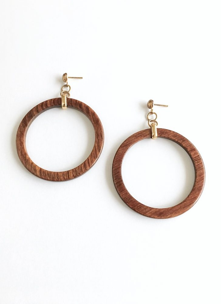 1960s 70s wood hoop earrings