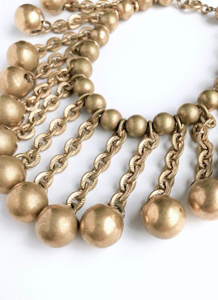vintage brass chain + ball charm bracelet