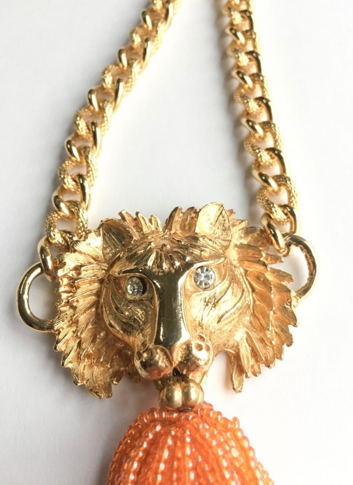 vintage gold lion + bead necklace