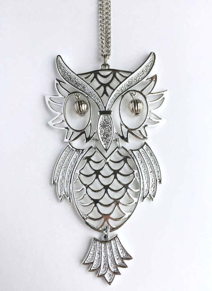 1960s 70s silver owl necklace
