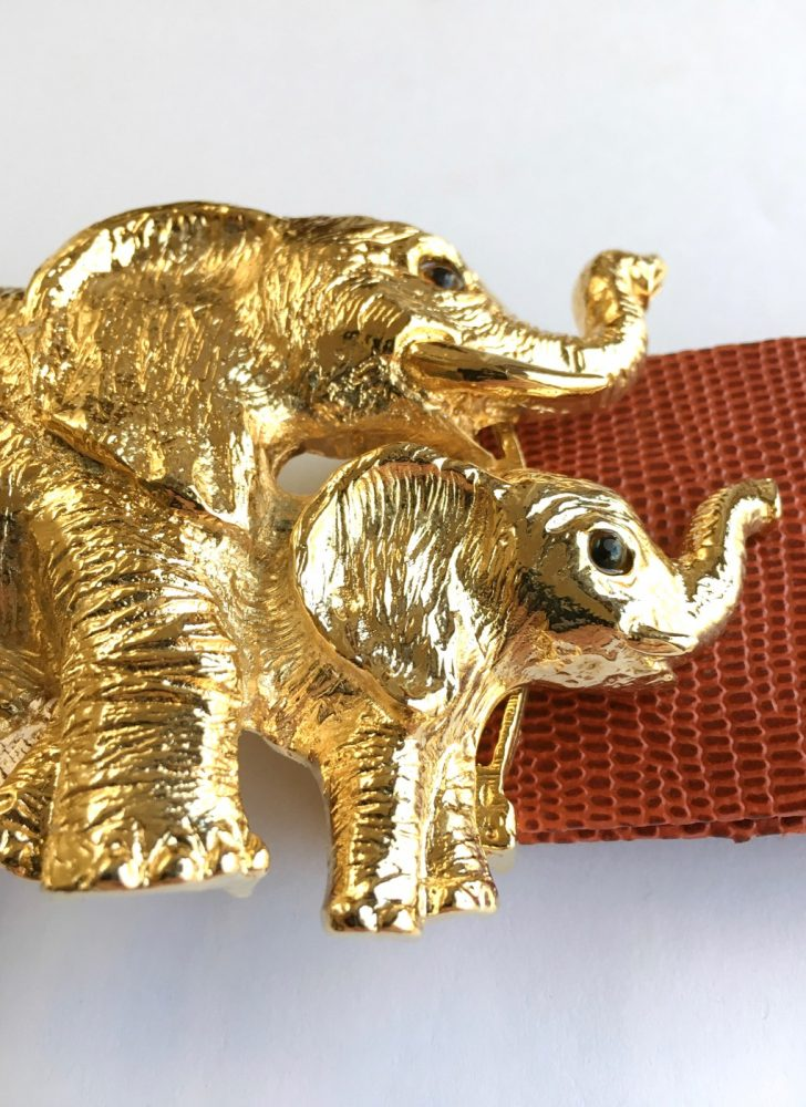 1980s Mimi di N gold elephant buckle belt