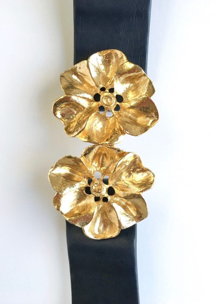 1980s Mimi Di Niscemi flower buckle belt