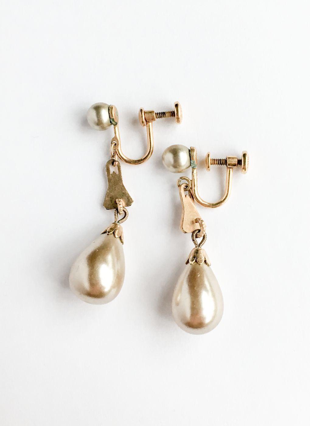 COMING SOON! 1930s 40s Heisey pearl drop earrings
