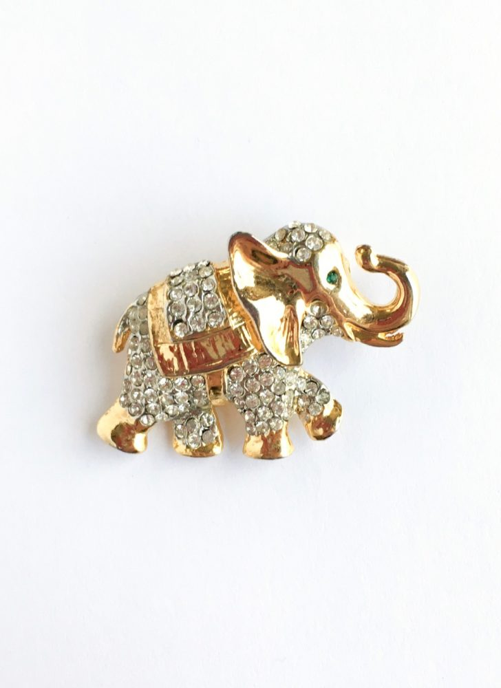 vintage rhinestone elephant pin