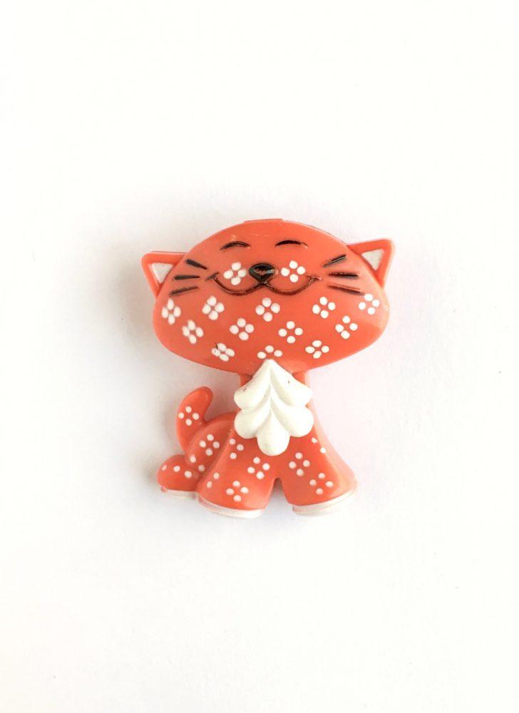 1970s Avon orange cat pin perfume glacé