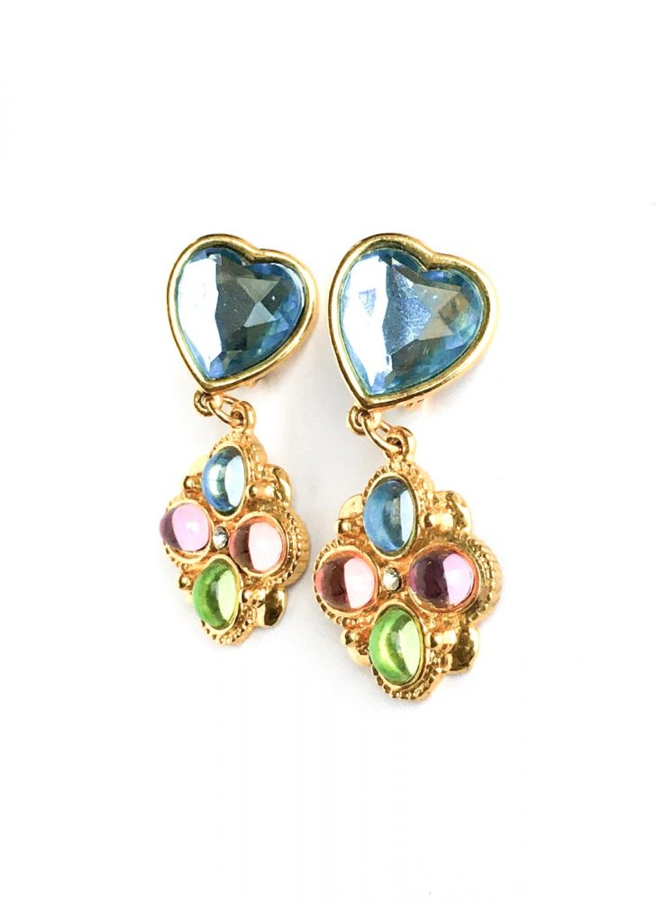 1980s pastel + gold heart drop earrings