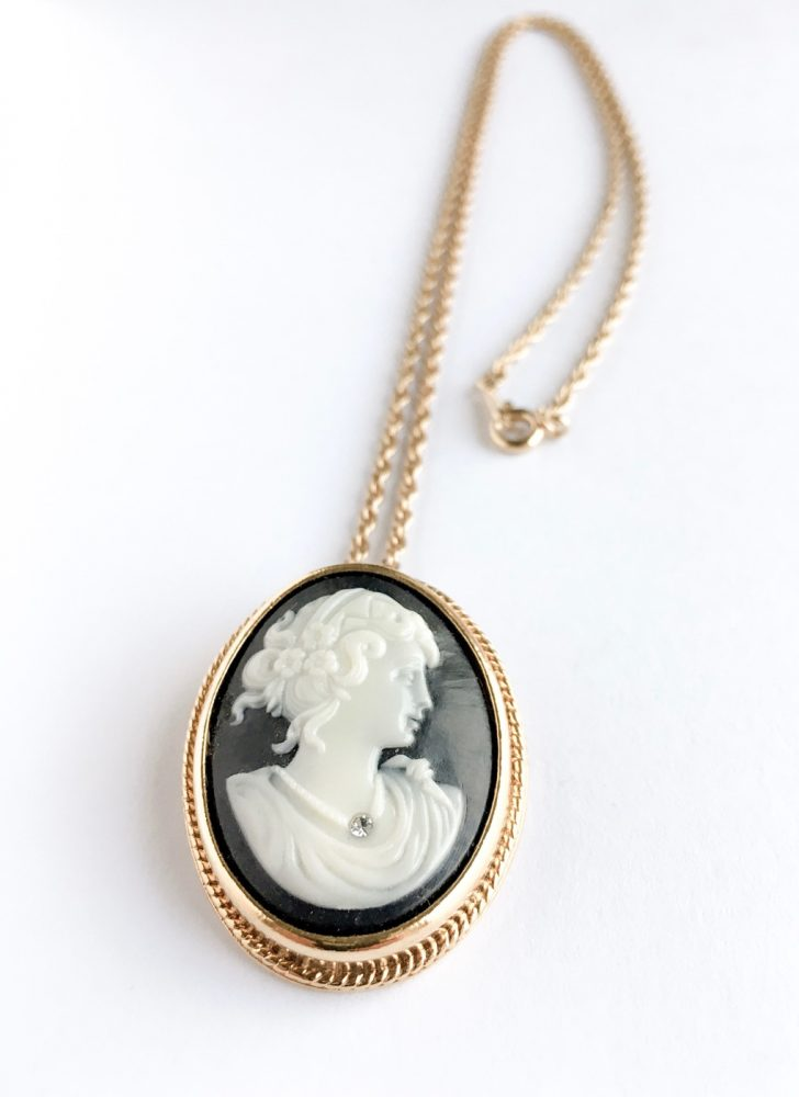 1960s cameo pin necklace