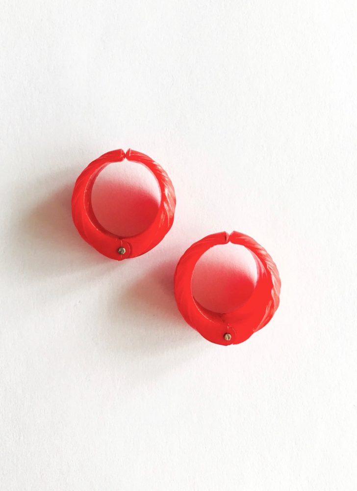vintage red lucite leaf hinged hoop earrings