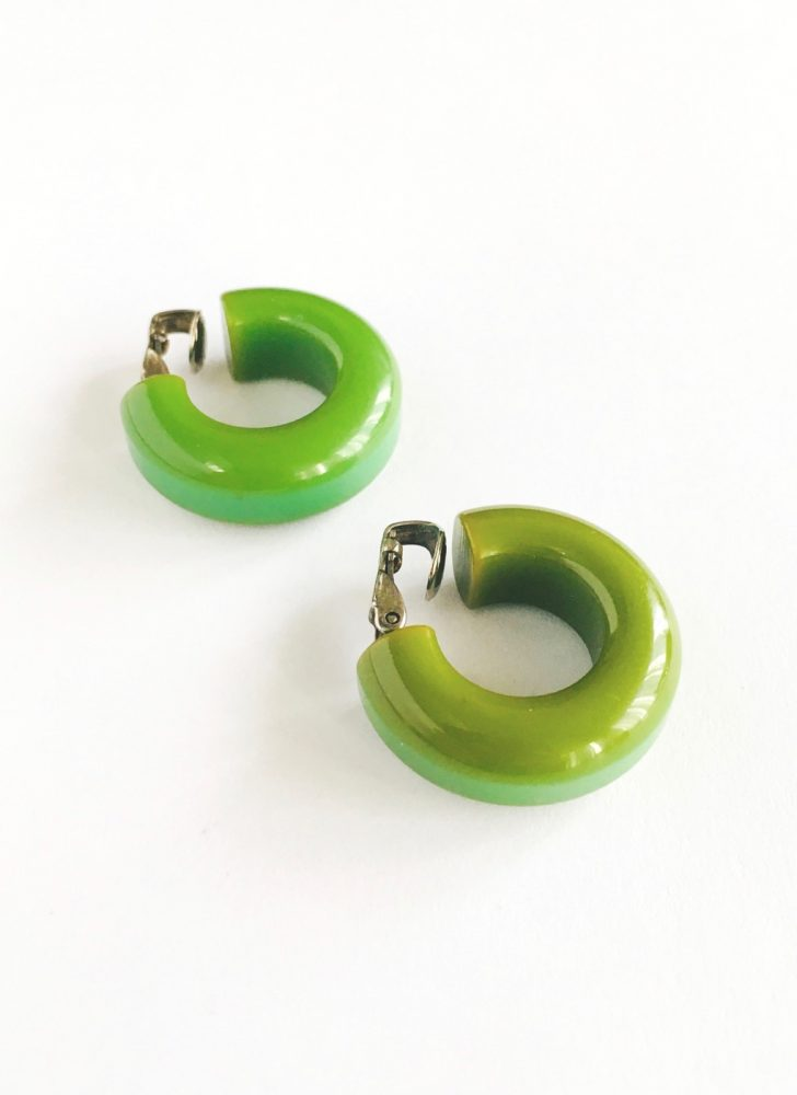vintage green Bakelite hoop earrings