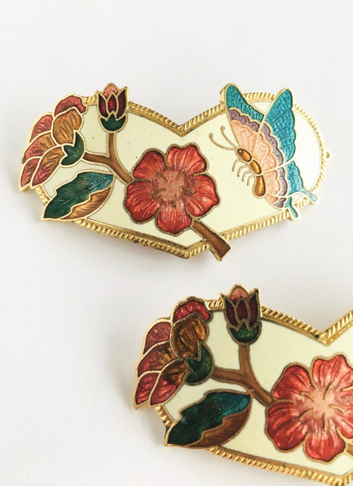 pair of vintage cloisonne butterfly barrettes