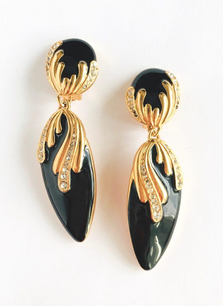 80s gold + black rhinestone dangle earrings