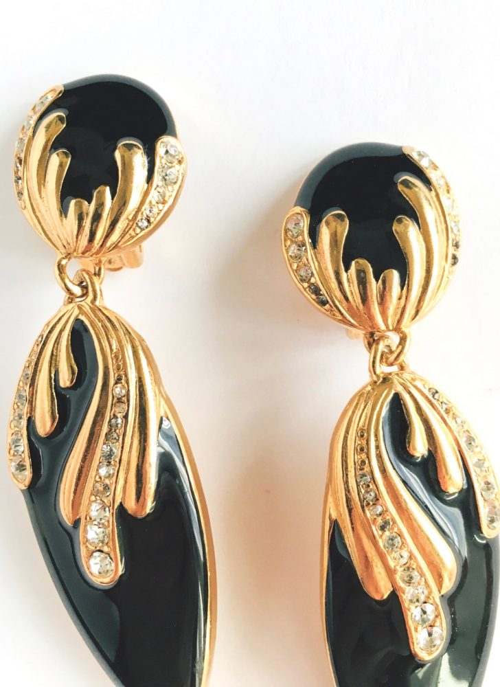 80s gold + black rhinestone dangle earrings