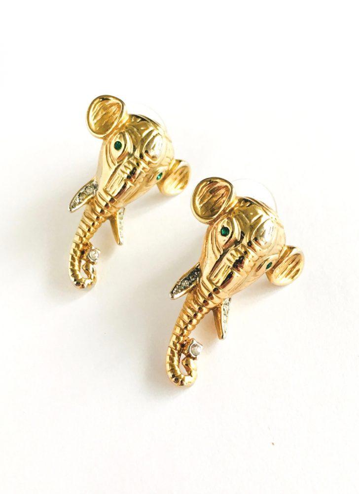 80s elephant rhinestones earrings