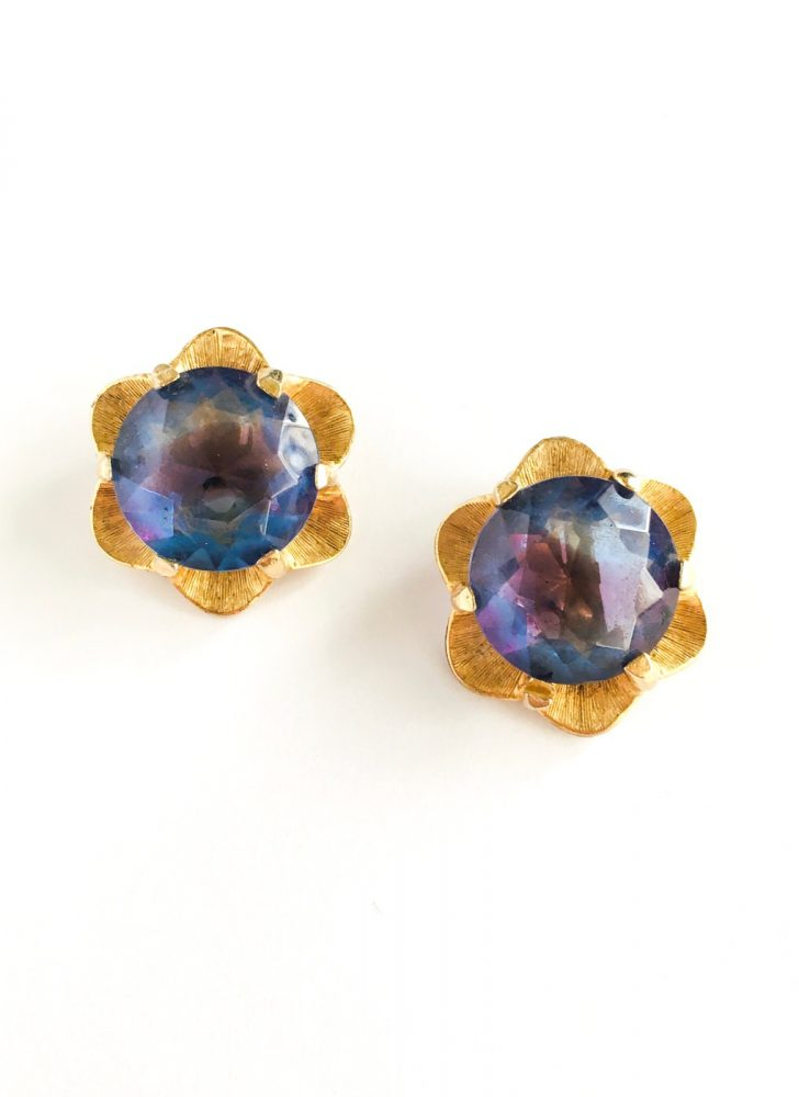 vintage gold + purple faceted glass flower earrings