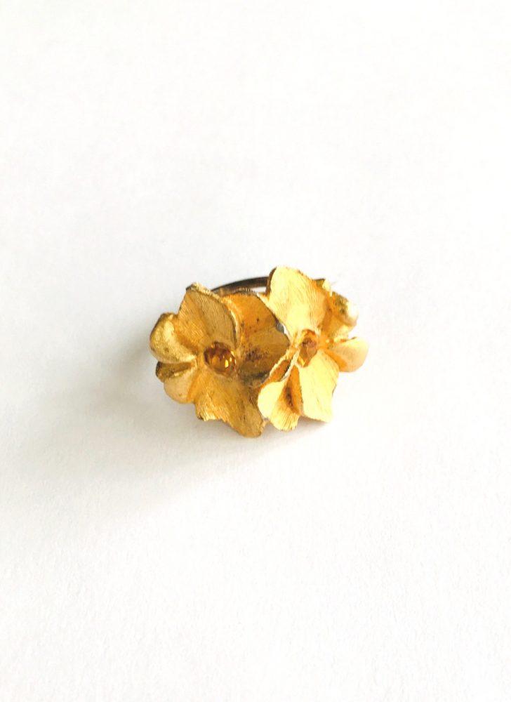 vintage topaz rhinestone double flower ring