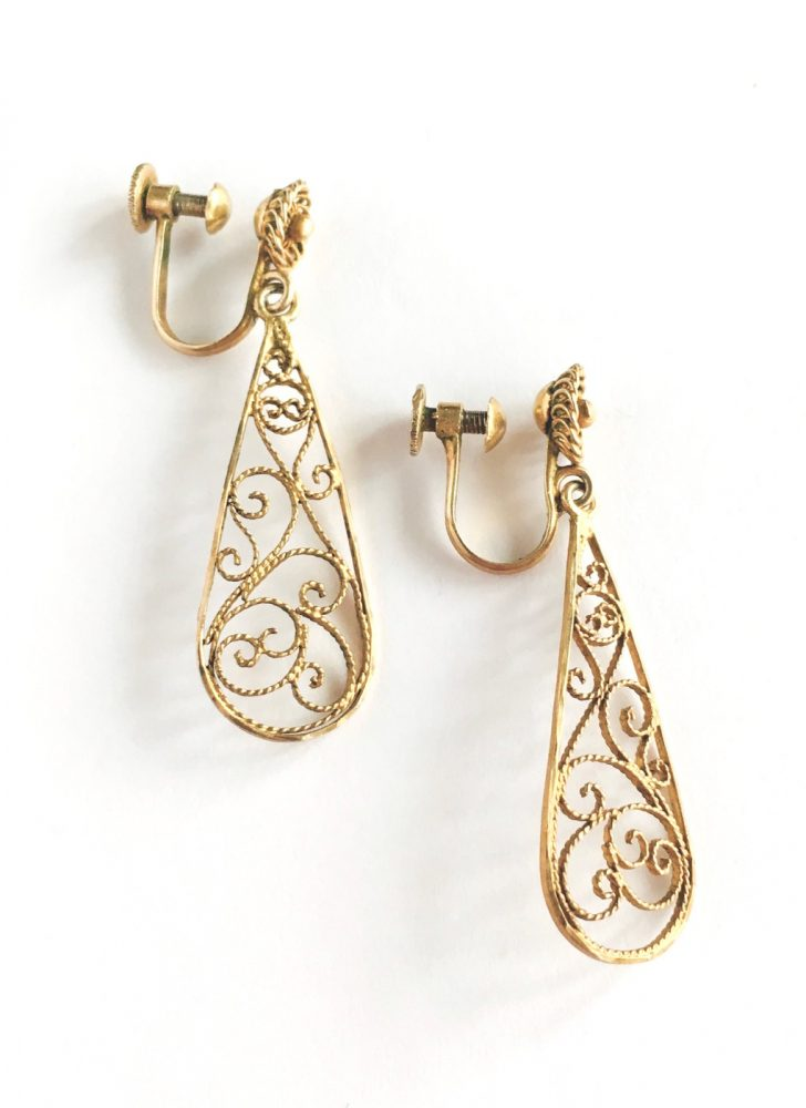 vintage sterling gold filigree drop earrings