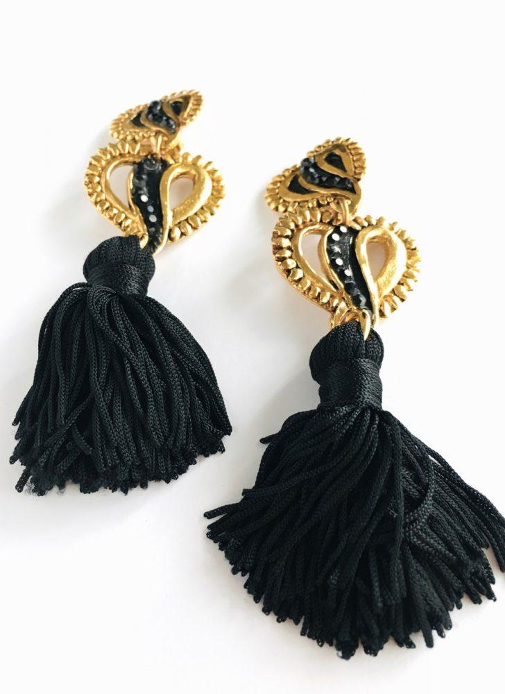 80s Jacky de G Paris gold + black tassel heart earrings